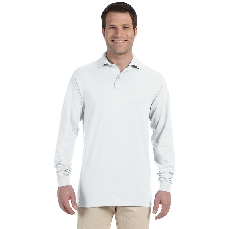 5.6 oz., 50/50 Long-Sleeve Jersey Polo with SpotShield?