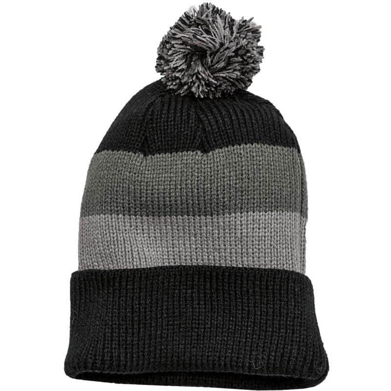District ®  - Vintage Striped Beanie with Removable Pom. DT627