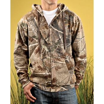 Adult Officially Licensed REALTREE? Camouflage Hooded Zip Front Sweatshirt