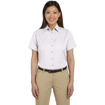 Ladies' Easy Blend Short-Sleeve Twill Shirt with Stain-Release